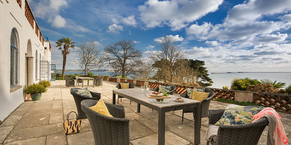 Portland House Dorset patio National Trust Images Mike Henton