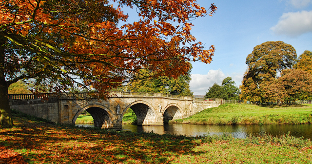 Bridge at Chatsworth in autumn