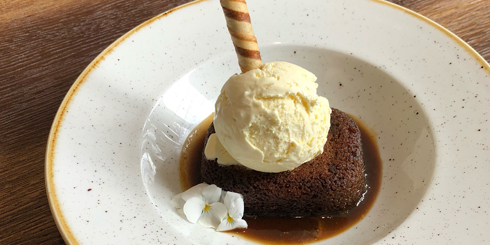sticky toffee pudding at The Strutt Arms