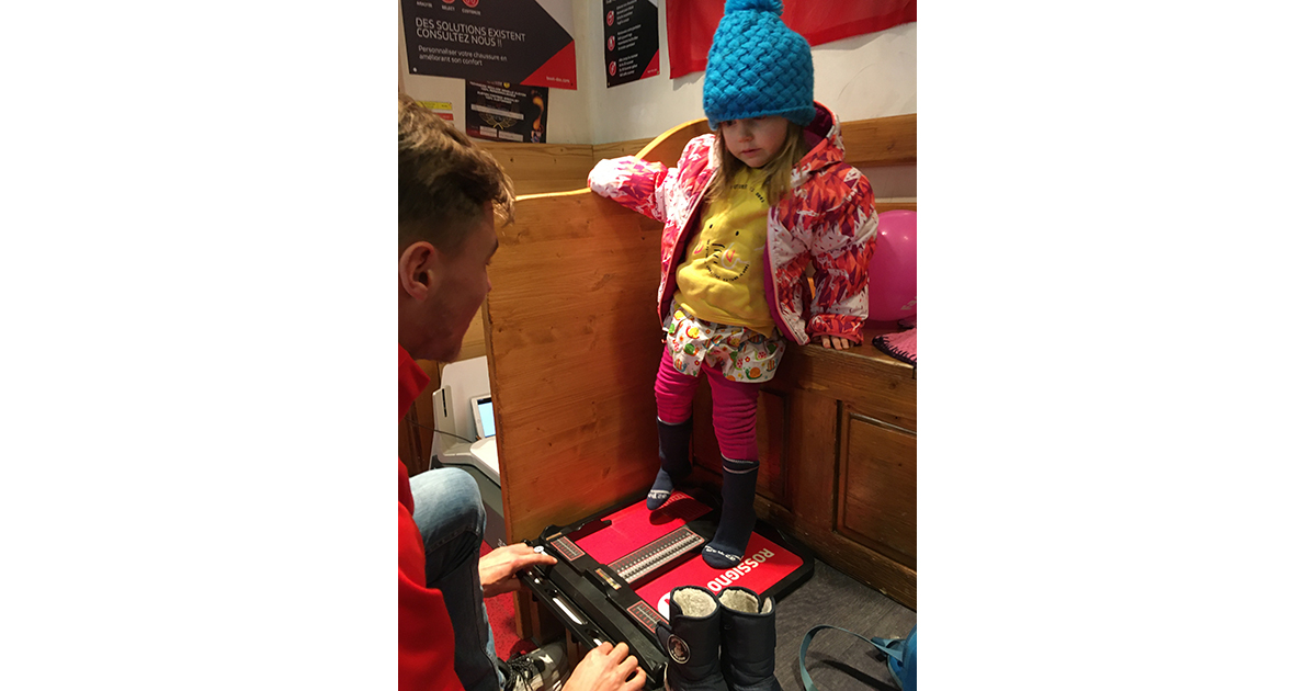 Getting fitted for ski boots in Ski Set