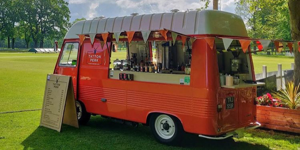 Tatton Perk Orange Coffee Van Open