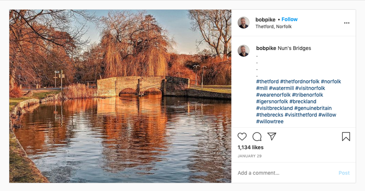 Instagram screenshot from @Bobpike with autumnal trees around a mill pond