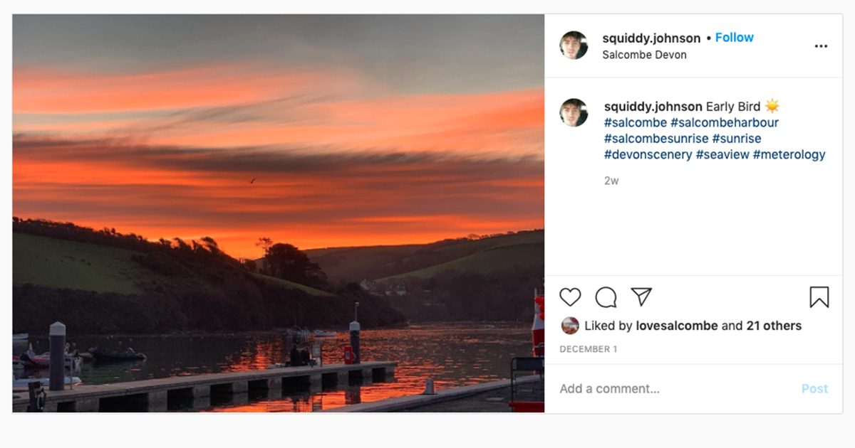 Instagram screenshot showing orange sunset over rolling hills and an estuary