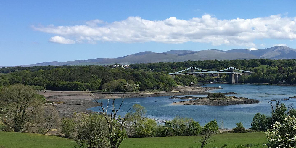 Anglesey Menai Straits and Menai Bridge