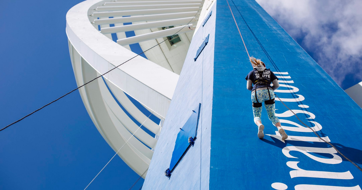 woman abseiling down spinnaker tower portsmouth