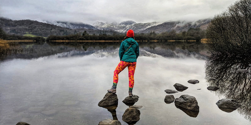 10 Amazing Pram Friendly and Wheelchair Accessible Walks in The Lake District Elterwater in winter. Looking over to a snow-capped Langdales