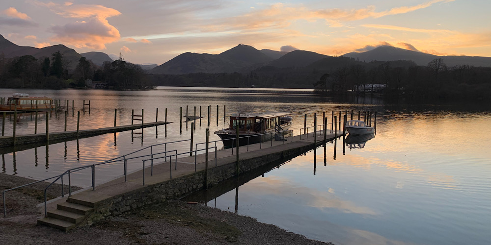 Wheelchair Accessible Walks in The Lake District Derwentwater at Sunset