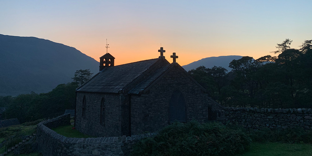 Wheelchair Accessible Walks in The Lake District Buttermere Church at sunset with a beautiful sky