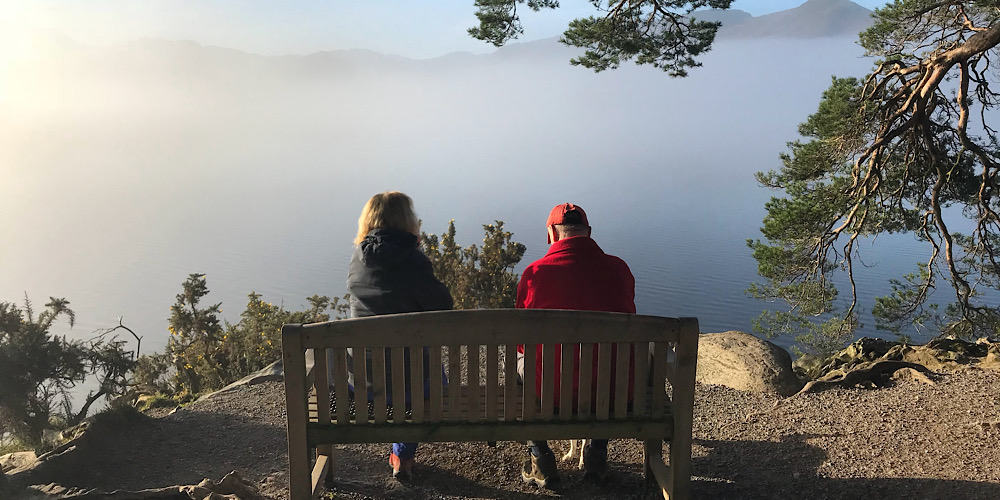 Wheelchair Accessible Walks in The Lake District The bench at Friars Crag, derwentwater. A cloud inversion in the background