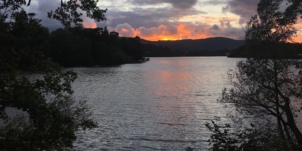 Wheelchair Accessible Walks in The Lake District Sunset over derwentwater on the walk to friars cray