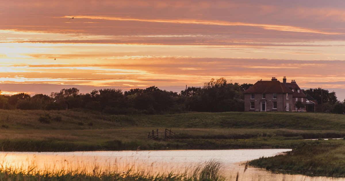 Sunset at Elmley Nature Reserve with Kingsmill Farmhouse