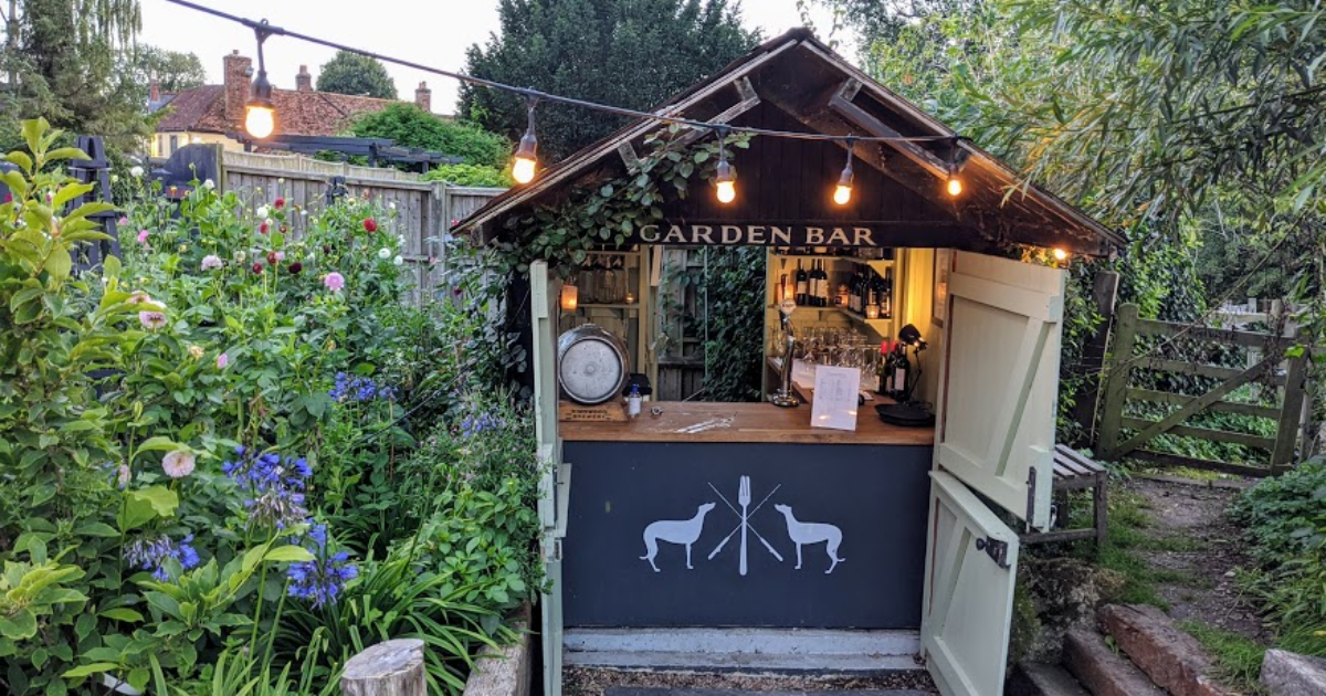 The garden bar in the Greyhound, Stockbridge