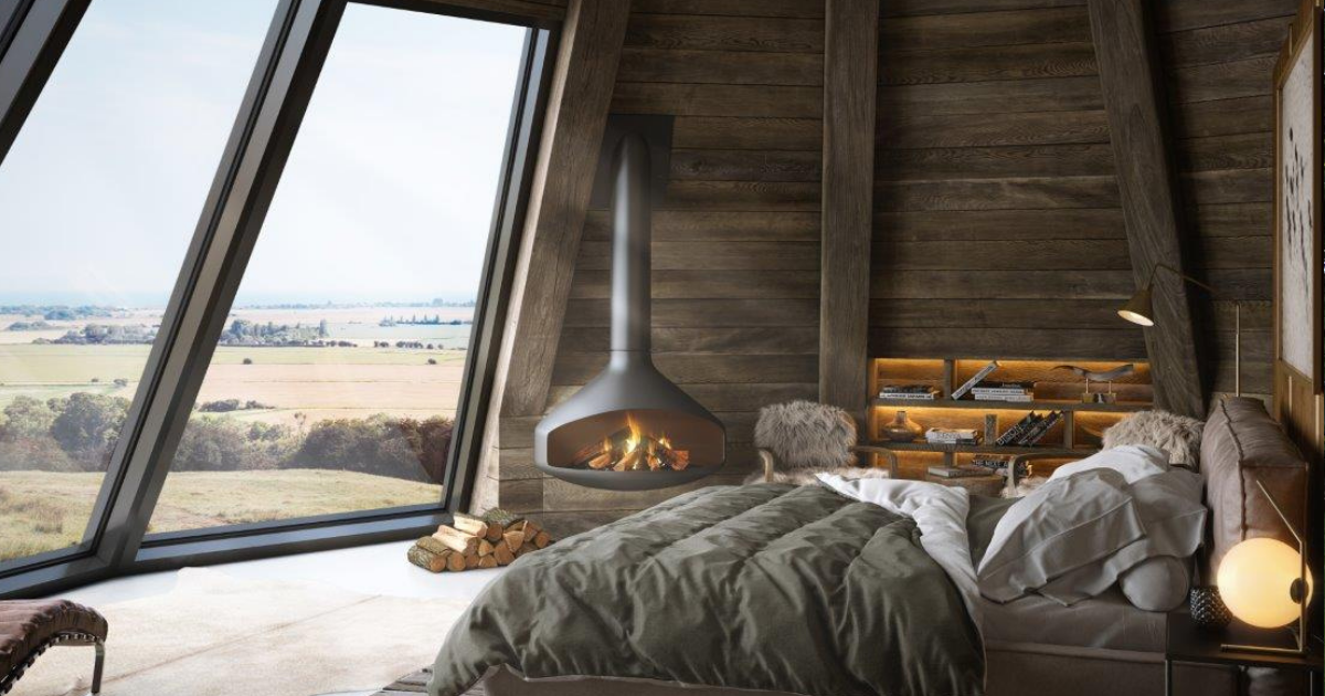 wooden wigwam with woodburner and large glass windows